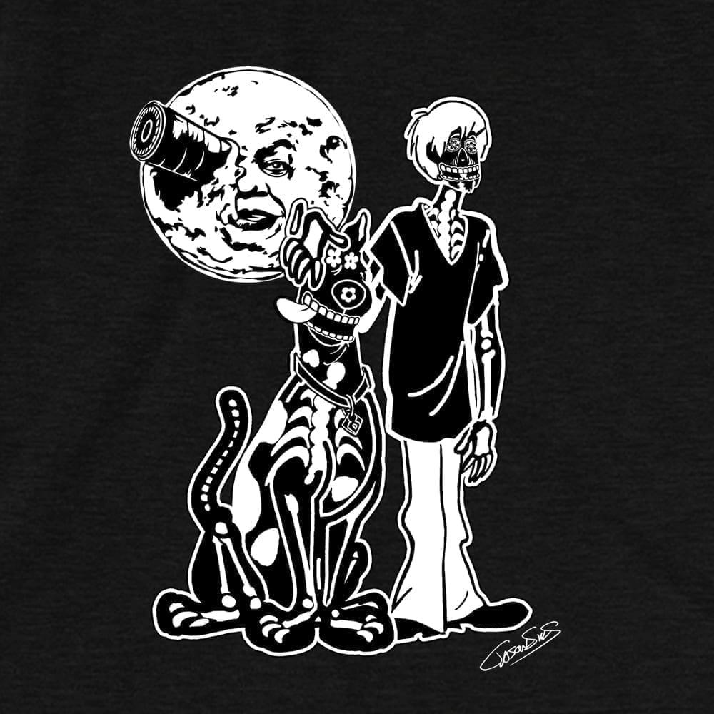 Under a Melies Moon (bw) • Women's Casual V-Neck T-Shirt