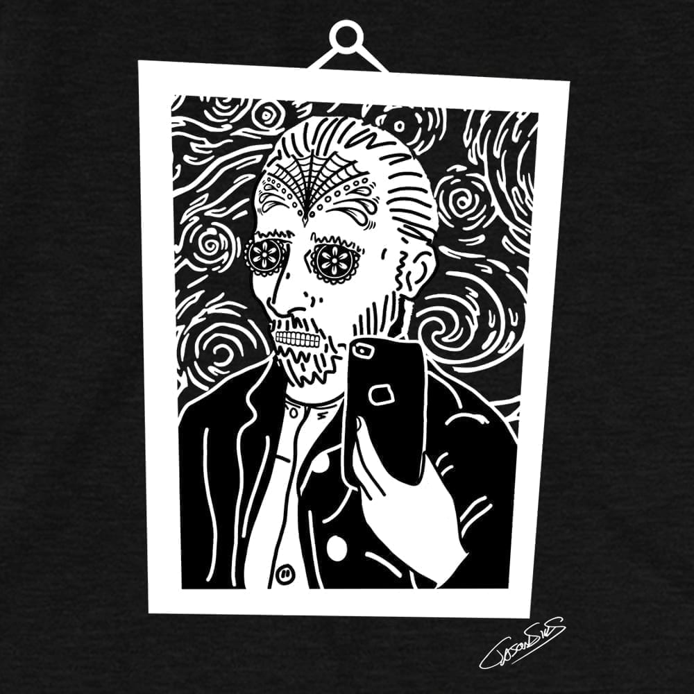 Vincent Selfie Muerto (bw) • Women's Casual V-Neck T-Shirt
