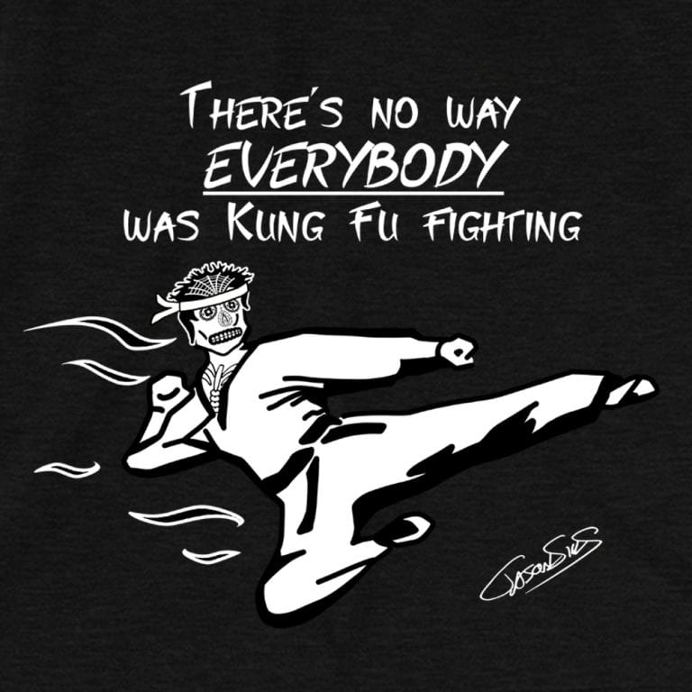 Kung Fu Fighting Muerto (bw) • Women's Casual V-Neck T-Shirt