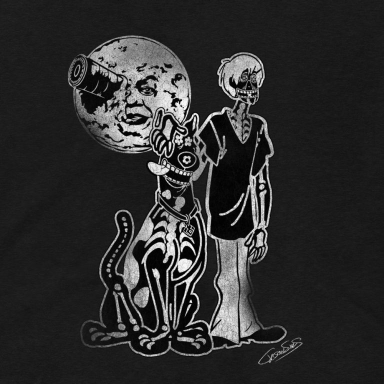 Under a Melies Moon (bw) • Women's Casual V-Neck T-Shirt