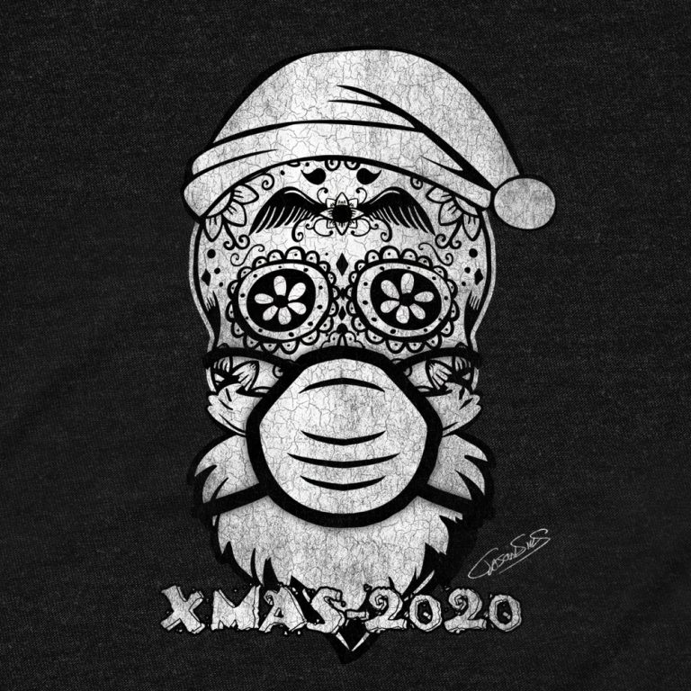 Xmas 2020 (bw) • Women's Casual V-Neck T-Shirt